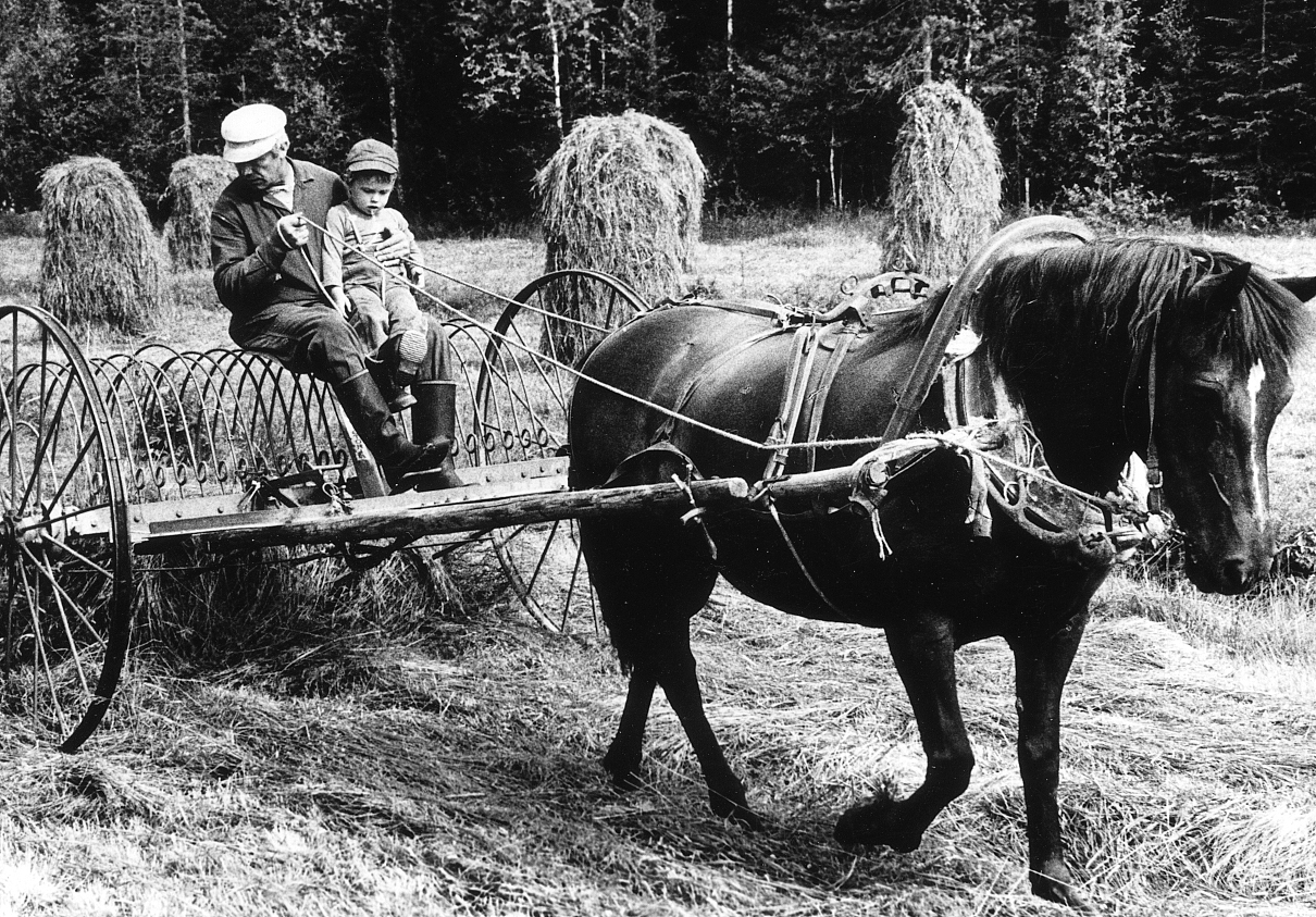 Photo by my dad, with my brother making hay with my grandfather, taken the year I was born.